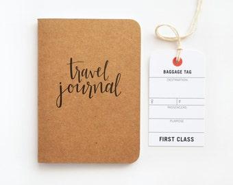 Pocket Travel Journal, Small Calligraphy Travel Notebook | Hand Lettered Traveler's Journal