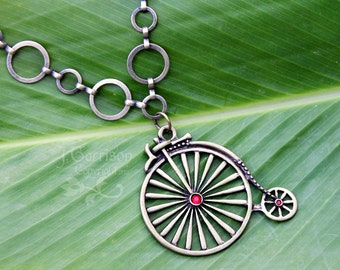 Penny-farthing Bicycle Necklace - Antiqued bronze - Vintage Victorian style - Steampunk - free shipping in USA