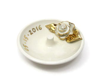 Custom Ring Dish with Real Gold Accents, Valentines, Hand Made Personalized White Porcelain Wedding Dish, Rose and Date, Gift, Made to Order