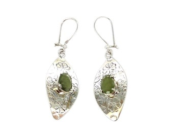 Sapphire Sterling Earrings Etched Marquis Shape Green