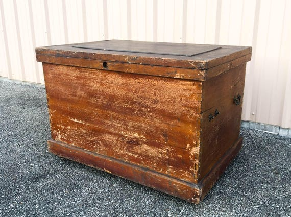 Like this item? - Huge Antique Map Storage Chest Wooden Trunk 6 Removable Tray