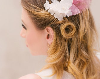 Bridal floral headpiece silk flowers feather hairpiece wedding accessory