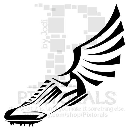 track winged shoe clipart eps file vector and jpeg png rh etsy com