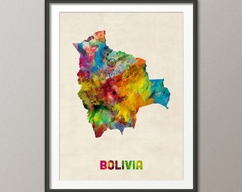 Bolivia Watercolor Map, Art Print (1328)