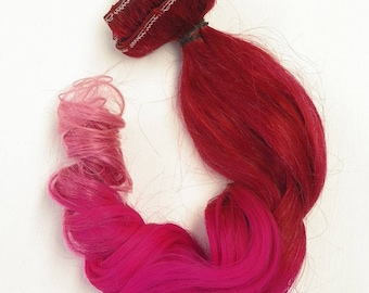 Red Pink Light Pink Color Melt 100% Human Hair Clip In Remy Extensions Ombre Dip dye
