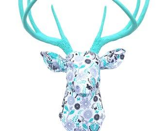 FABRIC DEER HEAD  -  Wall Mount -Turquoise Floral - Faux Taxidermy Deer Head - Trendy Modern Wall Decor