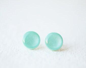 Mint Shimmering Stud Earrings - BUY 2 GET 1 FREE