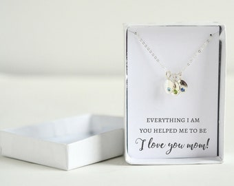Sterling Silver Mom Necklace - Mom Birthstone Necklace - Custom Mothers Jewelry - Circle Necklace Custom - Sterling Silver Initial Jewelry