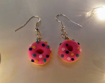 Pink sprinkle donut dangle earrings