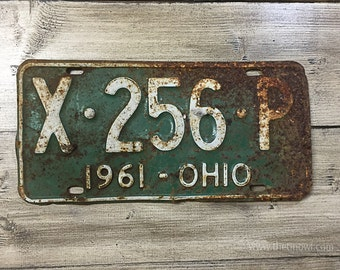 Vintage Ohio License Plate 1961 | Green White Rusty | Man Cave Decor | Old Collectible | For Him | Garage