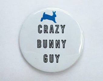 Crazy Bunny Guy | Rabbit Dad | Rabbit Pin | Rabbit Lady | Bunny | Rabbit | Bunny Lover | Easter Gift