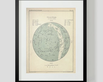 February Constellation Star Chart Popular Guide to the Heavens Art Print 40