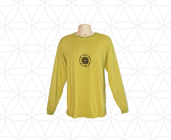 Organic Clothing - Hemp Shirt - Custom made Organic Cotton and Hemp Shirt - Sacred Geometry Print - Custom made, hand dyed, printed