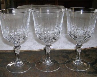 3 Vintage CRIS D'ARQUES / DURAND Crystal Glass Water Goblets St. Germain Pattern