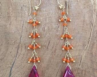 Deep Pink Corundum Earrings | Carnelian Earrings | 24K Gold Vermeil Earrings | Bohemian Earrings | Gemstone Earrings