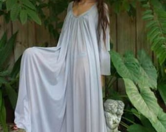 Peasant Sleeve Nightgown Long Sleeve Full Swing Gray Nylon Jane Austen Sleepwear Lingerie Honeymoon