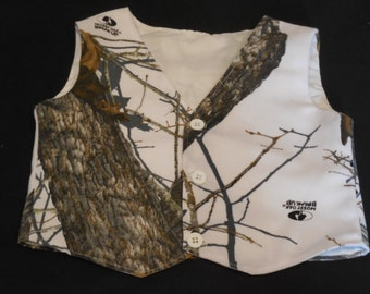 Baby Boy's Mossy Oak Camo Vest in Winter Break Up ~ Soft twill /poly cotton blend, White Camo Vest ~ Sizes New Born - 2T, Made to Order