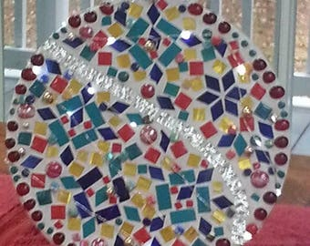 Mosaic Christmas Ornament with lights