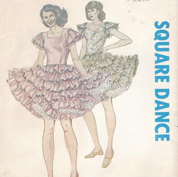 70er Jahre Damen Square Dance Kleid quadratische oder runde