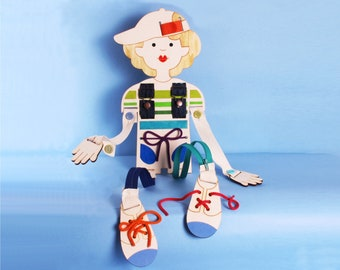 LACING DOLL, DOLL For Boys, Coordination Doll, Small Motors Practice, Buttons, Zippers,Wood Toy.