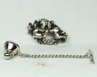 CUPID Tie Tack Sterling Silver Free Shipping