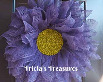 Purple Daisy Wreath, Purple Daisy Flower, Mother's Day Gift, Spring Wreath, Summer Wreath, Everyday Wreath, Housewarming Gift, Home Decor