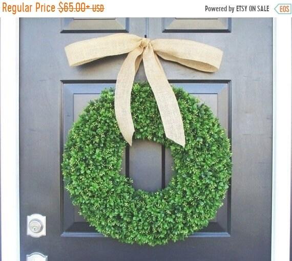 SUMMER WREATH SALE Artificial Boxwood Wreath- Summer Wreath- Wedding Wreath- 20 inch Artificial Boxwood Wreath- Burlap Ribbon- Christmas Wre