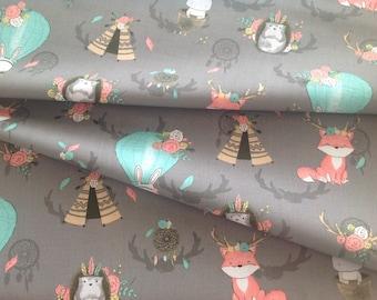 Printed foxes cotton print fabrics, cotton fabric
