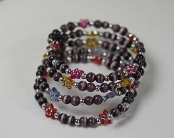 Vintage Handmade Memory Wire Stars and Beads Wrap Bracelet