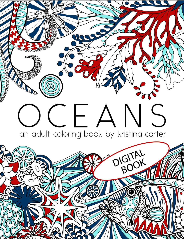 Oceans Adult Coloring Book Nautical Colouring Book Digital