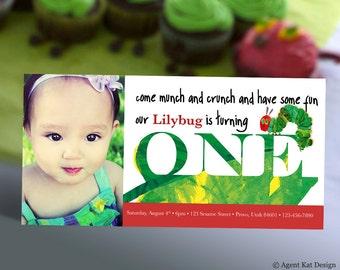 Hungry Caterpillar Invitation with Photo | First Birthday Invitation | Eric Carle Baby Bug Book Invitation | Digital Printable