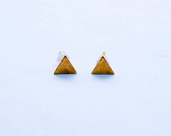 Brass Triangle Earrings studs - gold plated