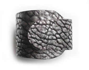Leather bracelet WRAPped silver and black