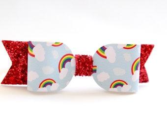 Rainbow Headband - Baby Bow Headband - Rainbow Hair Clip - Glitter Bow Headband - Rainbow Bow Headband