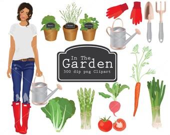 In The Garden clipart, vegetables, gardening, watering can, garden spade, herbs