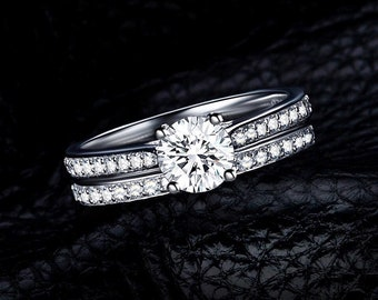 1 ct Solid Sterling Silver Round Cut Cubic Zirconia Bridal Set Rings Classic Engagement Set of 2 Rings Wedding Set Promise Solitaire Rings