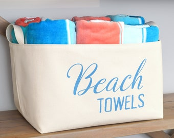 Beach Towels Canvas Storage Basket, Hand Printed in Caribbean Blue
