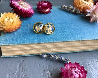 purple and gold foil stud earrings, gold jewelry, nickel free earrings, gift for her