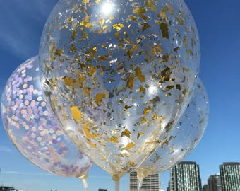 Set of 5 Confetti 28cm Balloons   Gold & Silver Confetti Balloon