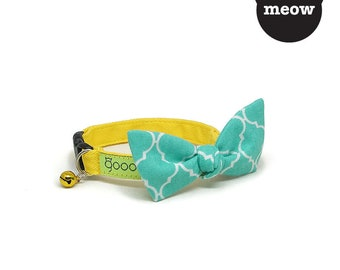 GOOOD Cat Collar | Flutterfly - Turquoisetiles | 100% Pattern Turquoise Cotton Fabric | Safety Breakaway Buckle