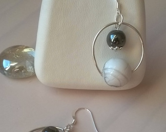 Earrings in 925 sterling silver, Howlite and Hematite beads