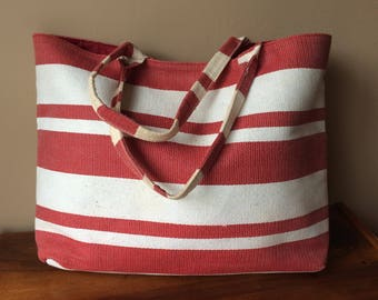 Vintage Tote Bag Red White Striped Beach Bag