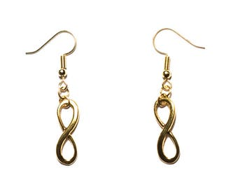 """""""Infinity 2"""" gold color earrings"""