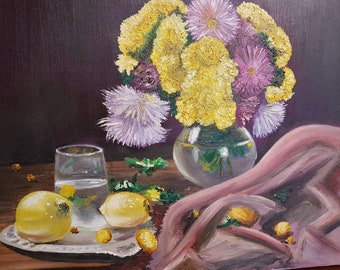 Oil Painting Still Life Flowers Water Lemon