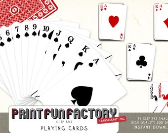 Playing cards clip art INSTANT DOWNLOAD