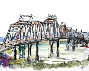 Original Ink and watercolor Painting 12x16 from Iconic Washington Bridge Missouri River. Route 47. Augusta Plein Air 2018 by Liz Vargas