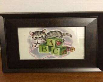 Framed Vintage Children's Book Illustration Kitten
