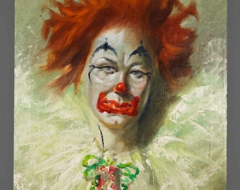 Vintage Oil Painting Clown 20 x 24 Circus Art Sad Clown
