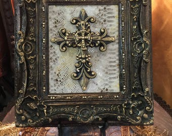 Decorative Embellished Cross with Bling Wall or Tabletop Frame - FREE SHIPPING