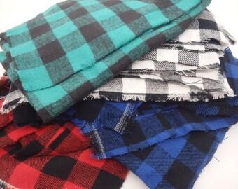 "Buffalo Plaid Flannel, 3/4"" Check, Assorted Colors - Flannel Fabric Scrap Bundle"